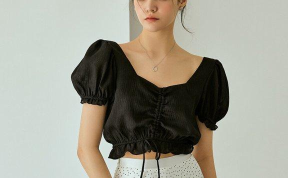 正品代购RE_L 21夏 韩国设计师品牌 抽绳松紧腰泡泡袖短款雪纺衫上衣