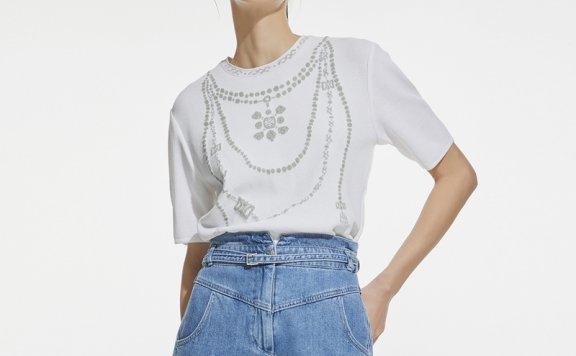 韩国设计师品牌DEWL 21夏 项链提花圆领短袖套头针织衫上衣正品