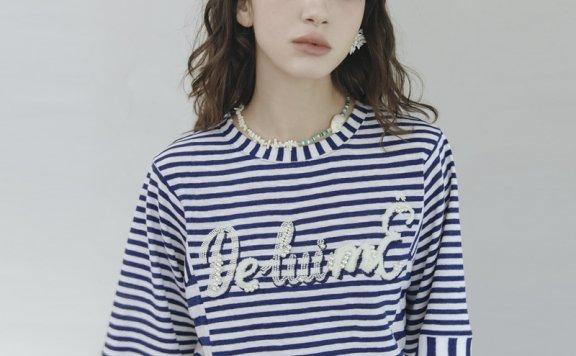 正品代购韩国设计师品牌DEWL 21夏 棉质条纹圆领休闲百搭T恤直邮