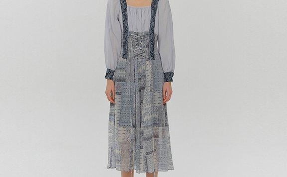 韩国设计师品牌 ETMON 21夏 收腰显瘦减龄气质碎花连衣裙直邮正品