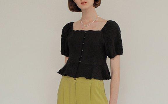 正品ROSE同款 AMONG 韩国设计师品牌 21夏 方领系扣泡泡袖短袖T恤