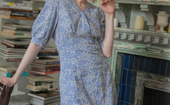 正品代购LENINA 21夏 韩国设计师品牌 纯棉V领碎花收腰显瘦连衣裙