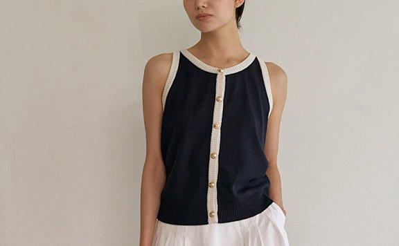 正品代购LO61 21夏 韩国设计师品牌 撞色无袖简约优雅针织背心