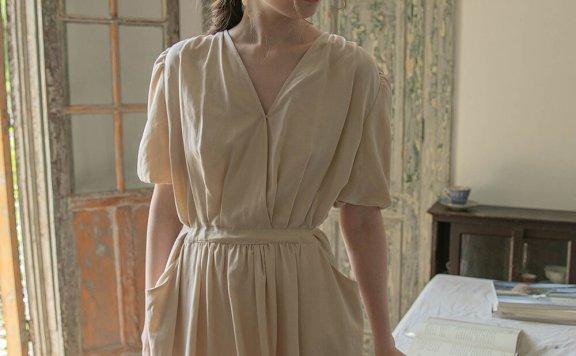 正品代购LENINA 21夏 韩国设计师品牌 V领系带收腰褶皱连衣裙直邮