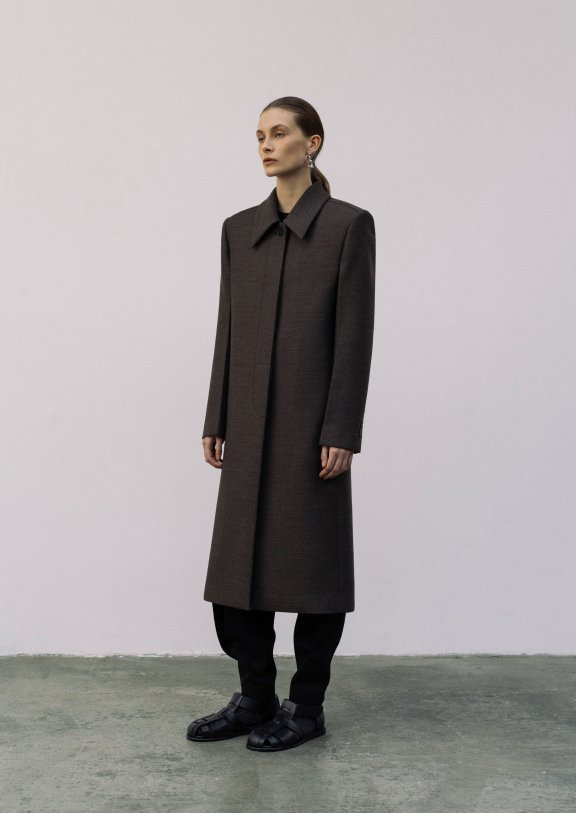 lowclassic 21秋冬 韩国设计师品牌 小肩颈隐藏纽扣宽肩大衣外套
