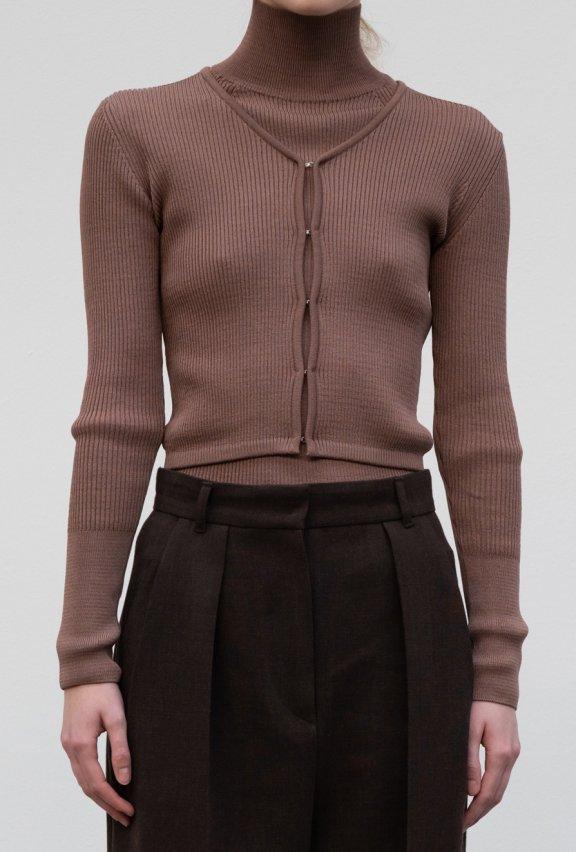 lowclassic 21秋冬 韩国设计师品牌 镂空修身长袖针织开衫上衣
