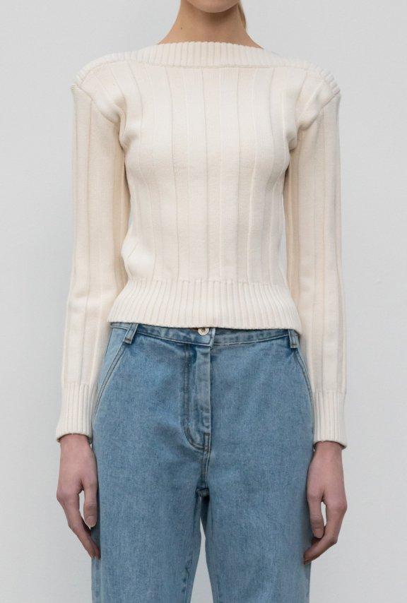 lowclassic 21秋冬 韩国设计师品牌 一字领修身长袖针织打底衫