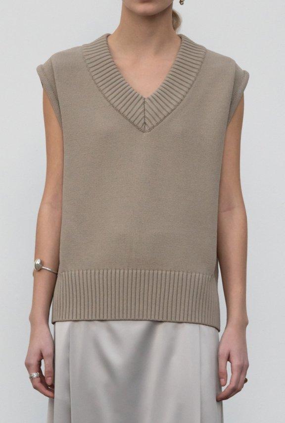 lowclassic 21秋冬 韩国设计师品牌 V领无袖羊毛针织套头背心正品