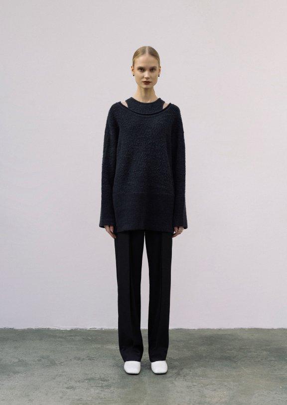 lowclassic 21秋冬韩国设计师品牌 大领落肩款套头羊毛衫上衣正品