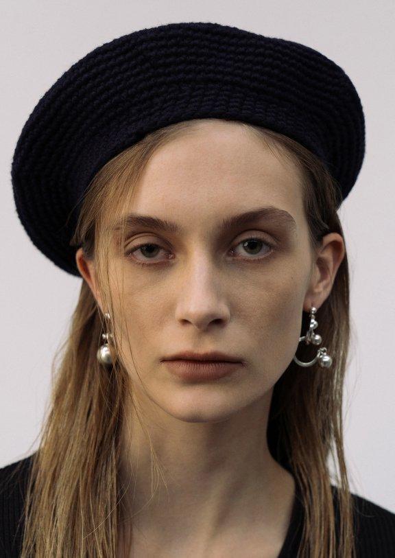 lowclassic 21秋冬 韩国设计师品牌 手工制作针织百搭黑色贝雷帽