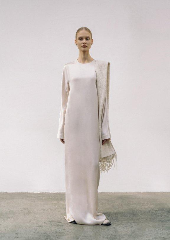 lowclassic 21秋冬 韩国设计师品牌 羊毛混纺象牙色流苏围巾正品