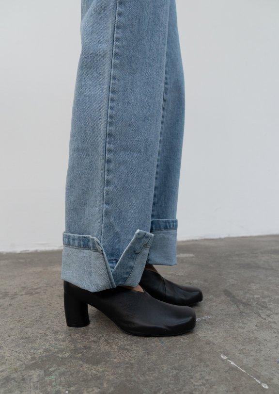 lowclassic 21秋冬 韩国设计师品牌 方头粗跟高跟鞋皮鞋正品直邮