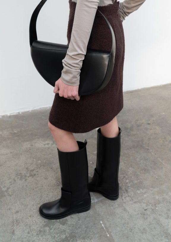 lowclassic 21秋冬 韩国设计师品牌 秋季简约百搭牛皮直筒长筒靴