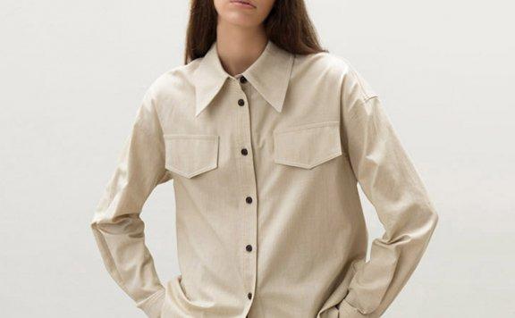 AVA MOLLI 韩国设计师品牌 21秋冬 小尖领假口袋宽松羊毛混纺衬衫