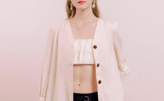 正品代购DEARK 韩国设计师品牌 21秋款 V领单排扣长袖衬衫直邮