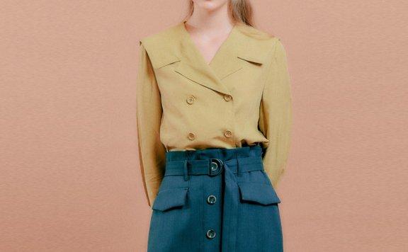 正品DEARK 韩国设计师品牌 21秋款 纯色水手领双排扣长袖短款衬衫