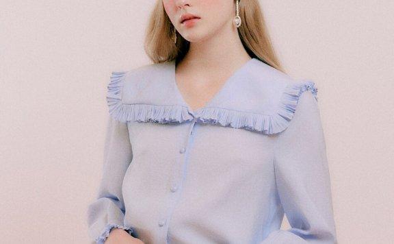 正品代购DEARK 韩国设计师品牌 21秋款 褶皱水手领长袖花边衬衫