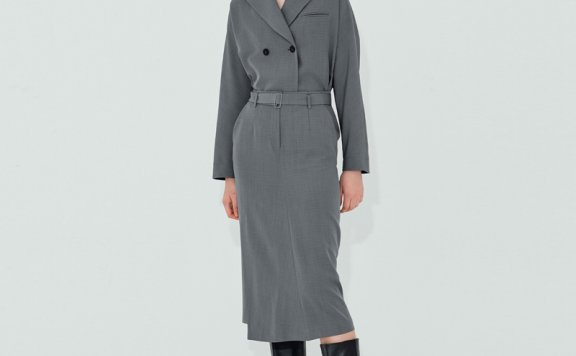 正品代购NUVO.10韩国设计师品牌 21秋款 束腰侧开叉衬衫式连衣裙
