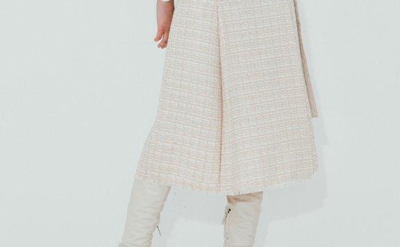 正品NUVO.10韩国设计师品牌 21秋款 束腰压褶花呢流苏边半身裙