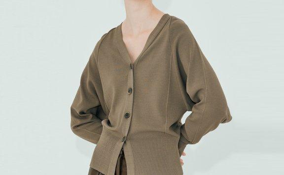 正品代购NUVO.10韩国设计师品牌 21秋款 基础款V领单排扣针织开衫