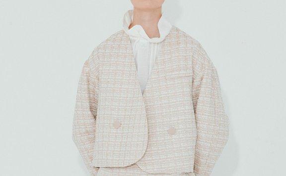 正品NUVO.10韩国设计师品牌 21秋款 粗花呢无领短款针织短款外套