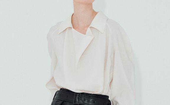NUVO.10韩国设计师品牌 21秋款 翻领收腰系带款衬衫上衣正品直邮