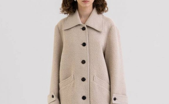 KINDERSALMON 21秋冬 韩国设计师品牌 英伦风尖领单排扣羊毛外套