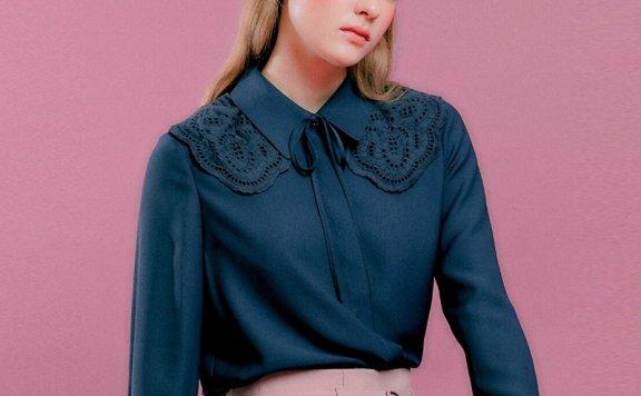 正品代购DEARK 韩国设计师品牌 21秋款 蕾丝斗篷领系带长袖衬衫