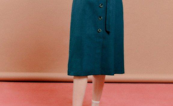 正品代购DEARK 韩国设计师品牌 21秋款 中扣束带口袋款半身裙直邮