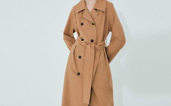 正品代购NUVO.10韩国设计师品牌 21秋款 双排扣束带休闲风衣外套