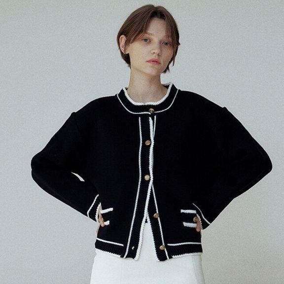 正品代购韩国设计师品牌Hackesch 21秋冬 气质短款小香风针织开衫