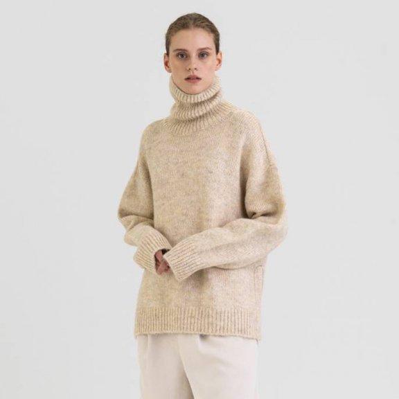 韩国设计师品牌Hackesch 21秋冬 纯棉翻领纽扣小香风针织开衫直邮