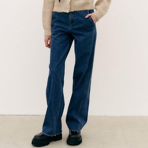 正品MAISONMARAIS 韩国设计师品牌 21秋冬 经典微阔腿直筒牛仔裤