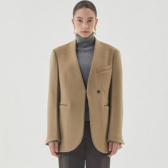 HAE BY HAEKIM 韩国设计师品牌 21秋冬 无领按扣宽松羊毛西装夹克