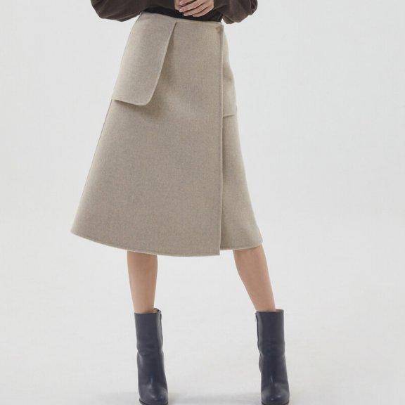 正品HAE BY HAEKIM 韩国设计师品牌 21秋冬 双面手工羊毛半身裙