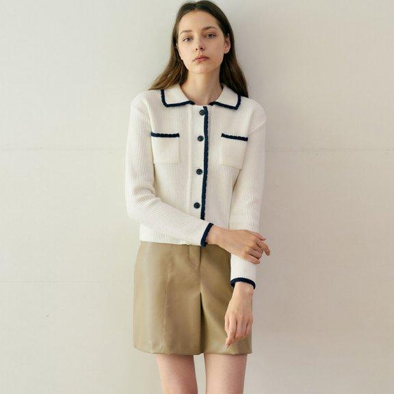 正品代购MONTS 韩国设计师品牌 21秋冬 方领口袋单排扣针织开衫