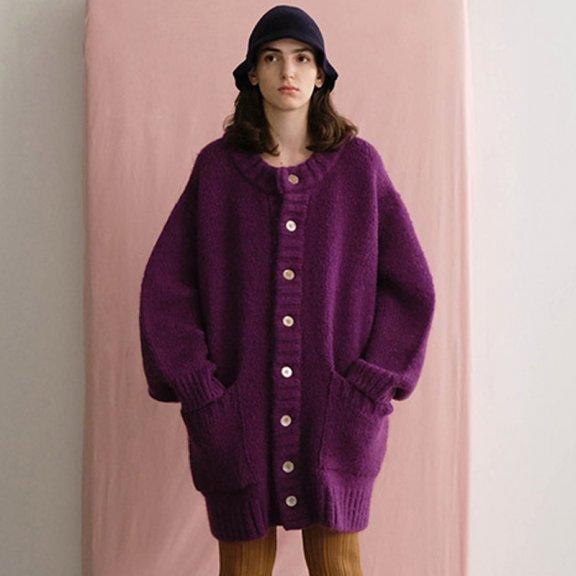 Trunk Project 21秋冬 韩国设计师品牌 圆领泡泡袖长袖针织开襟衫