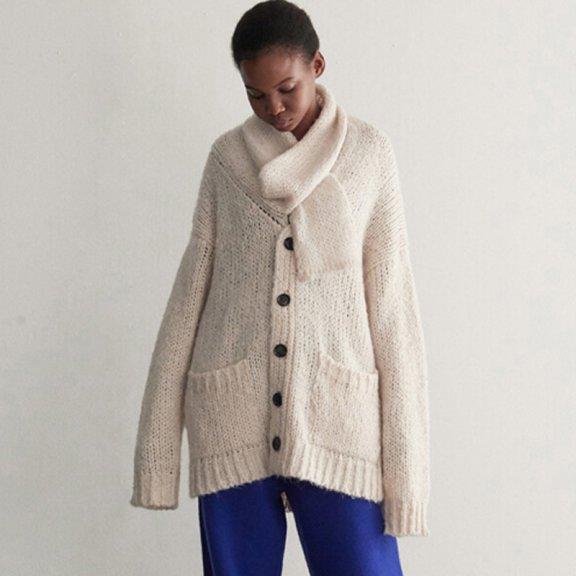 Trunk Project 21秋冬 韩国设计师品牌 堆堆围巾领宽松款针织开衫