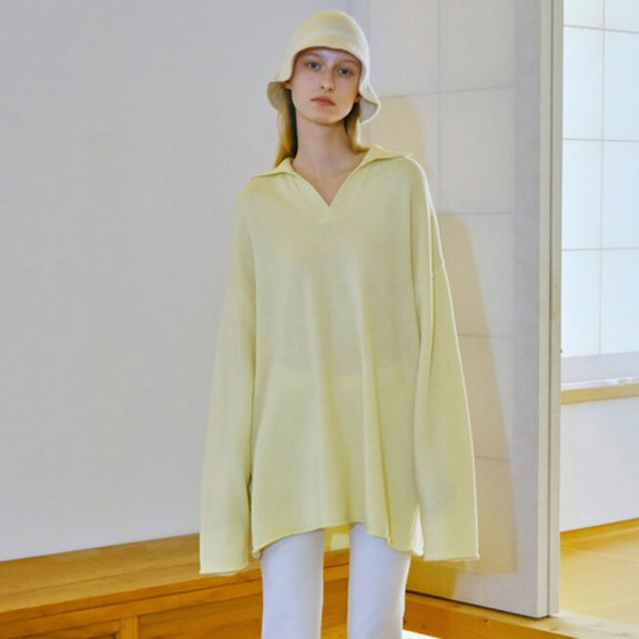 Trunk Project 21秋冬 韩国设计师品牌 羊绒V领不规则下摆针织衫