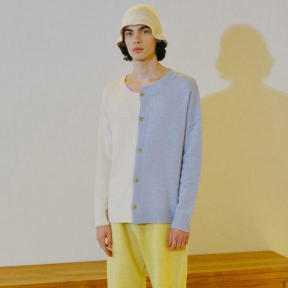 Trunk Project 21秋冬 韩国设计师品牌 不规则领拼色针织开衫