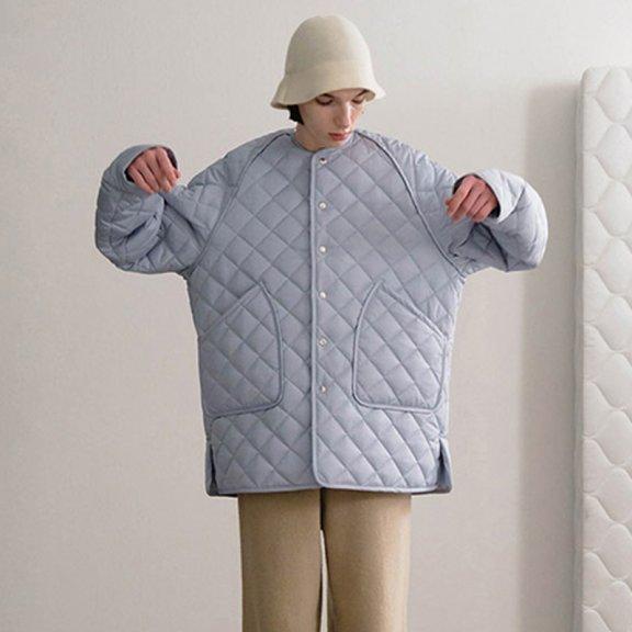 正品Trunk Project 韩国设计师品牌 21秋冬 无领菱格长袖宽松棉服