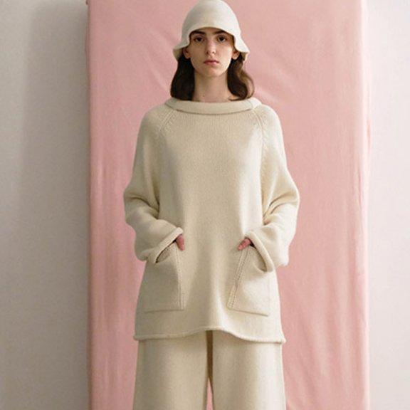 Trunk Project 韩国设计师品牌 21秋冬 卷领宽松口袋套头针织衫