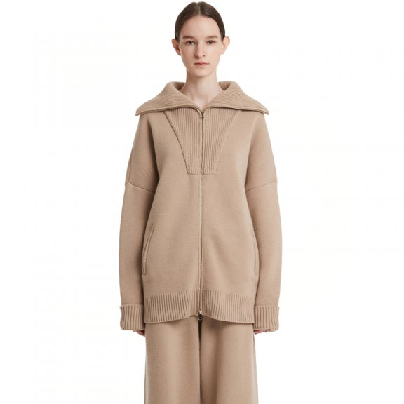 Trunk Project 韩国设计师品牌 21秋冬 大翻领拉链款针织开衫外套
