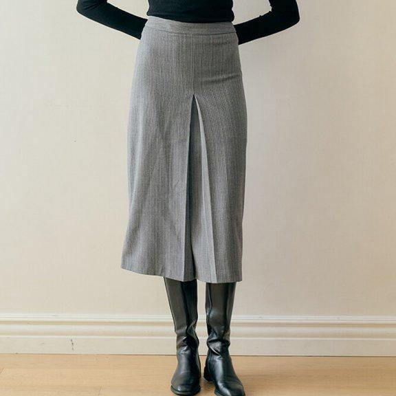 MONTS 韩国设计师品牌 21秋冬 气质修身压褶方格半身裙正品直邮