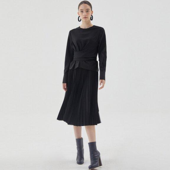 正品HAE BY HAEKIM 韩国设计师品牌 21秋冬 打结百褶长袖连衣裙