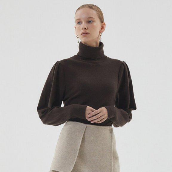 HAE BY HAEKIM 韩国设计师品牌 21秋冬 高领褶袖百搭羊毛针织衫