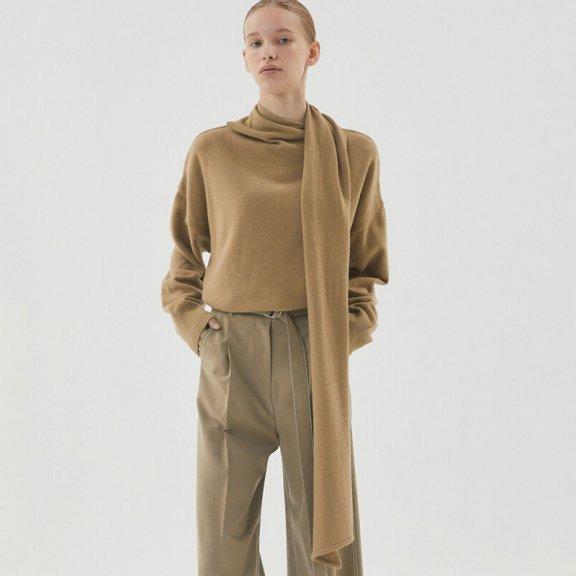 正品HAE BY HAEKIM 韩国设计师品牌 21秋冬 围脖领宽松羊毛针织衫
