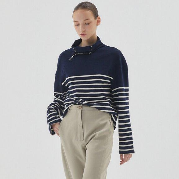 HAE BY HAEKIM 韩国设计师品牌 21秋冬 宽松侧拉链领条纹T恤衫