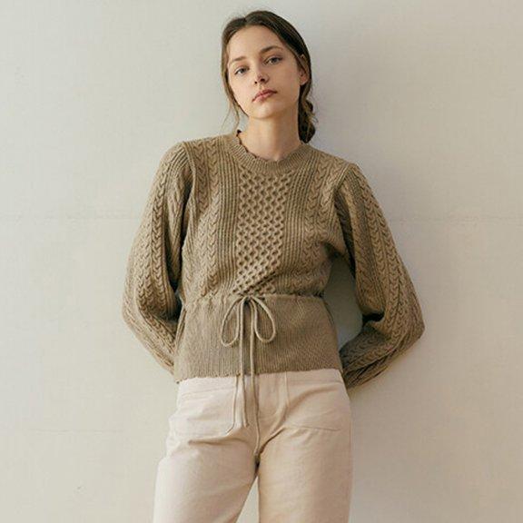 正品代购MONTS 韩国设计师品牌 21秋冬 圆领收腰抽绳麻花套头毛衣
