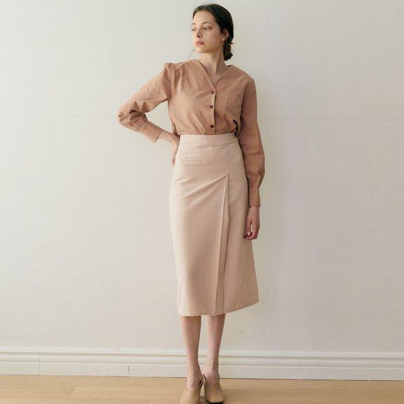 正品代购MONTS 韩国设计师品牌 21秋冬 压褶后开叉修身半身裙长裙